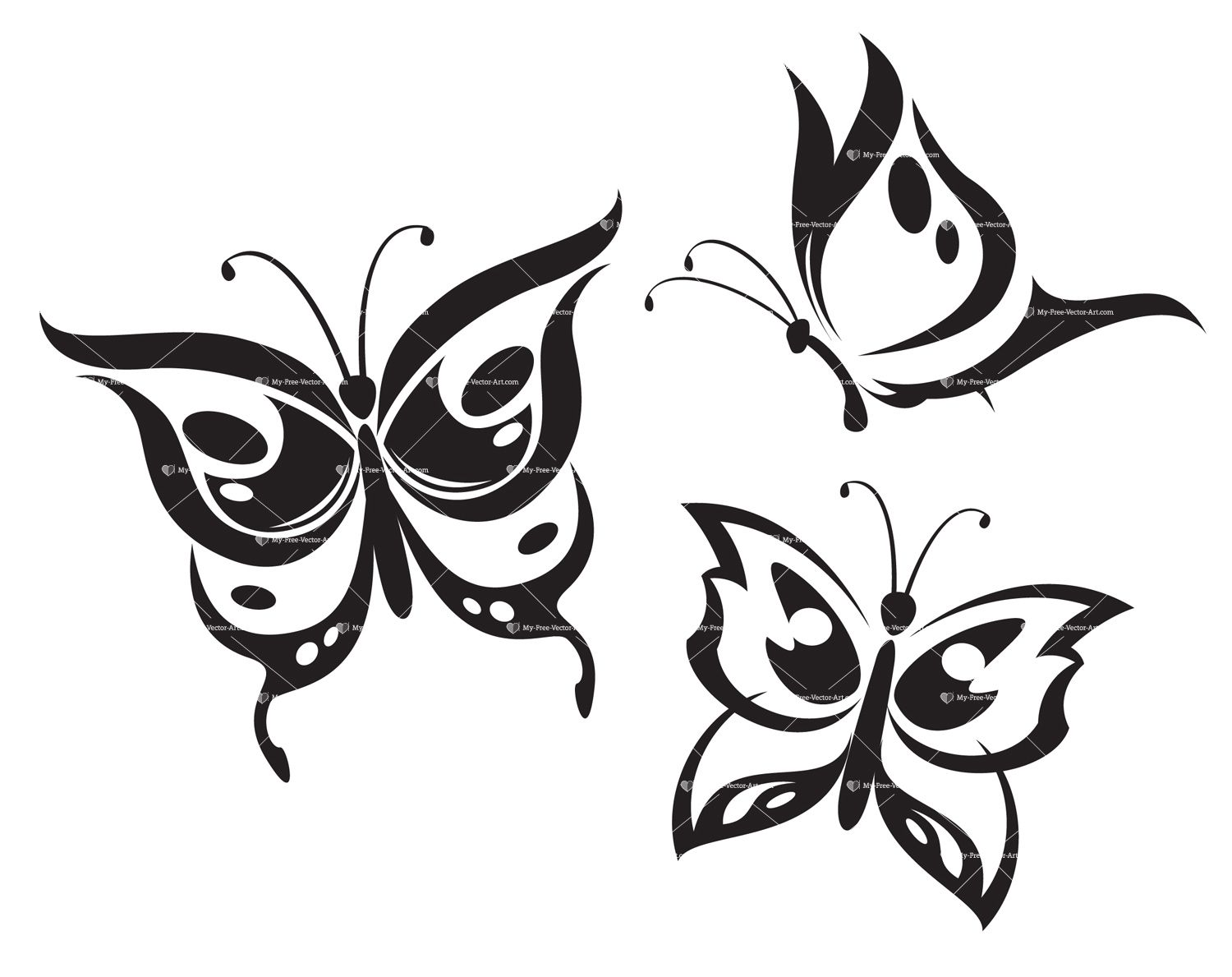 tattoo black and white outline butterfly animals buy clip art
