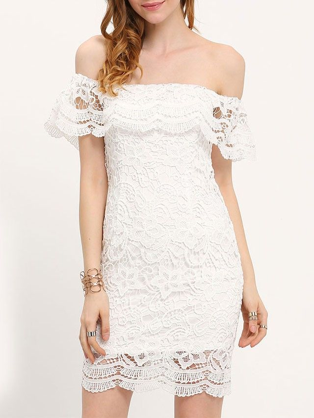 6156571223c White Mini Bodycon Dress Off Shoulder Lace Flounce Sheath Party Dress