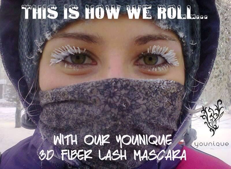 Winter humor!! Love the white lashes!! Younique Fiberlash 3D mascara. Order urs today at: www.flashinlashes.com. We have a 14 day love it guarantee.