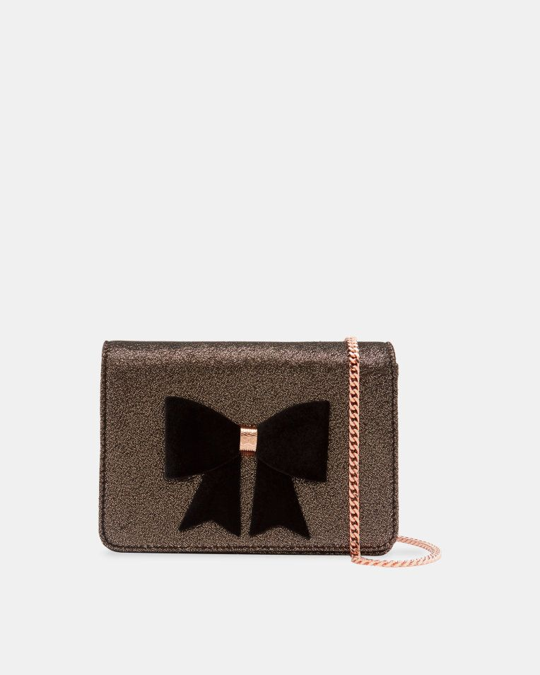 8f59a032e4d6 Glitter bow evening bag - Rose Gold