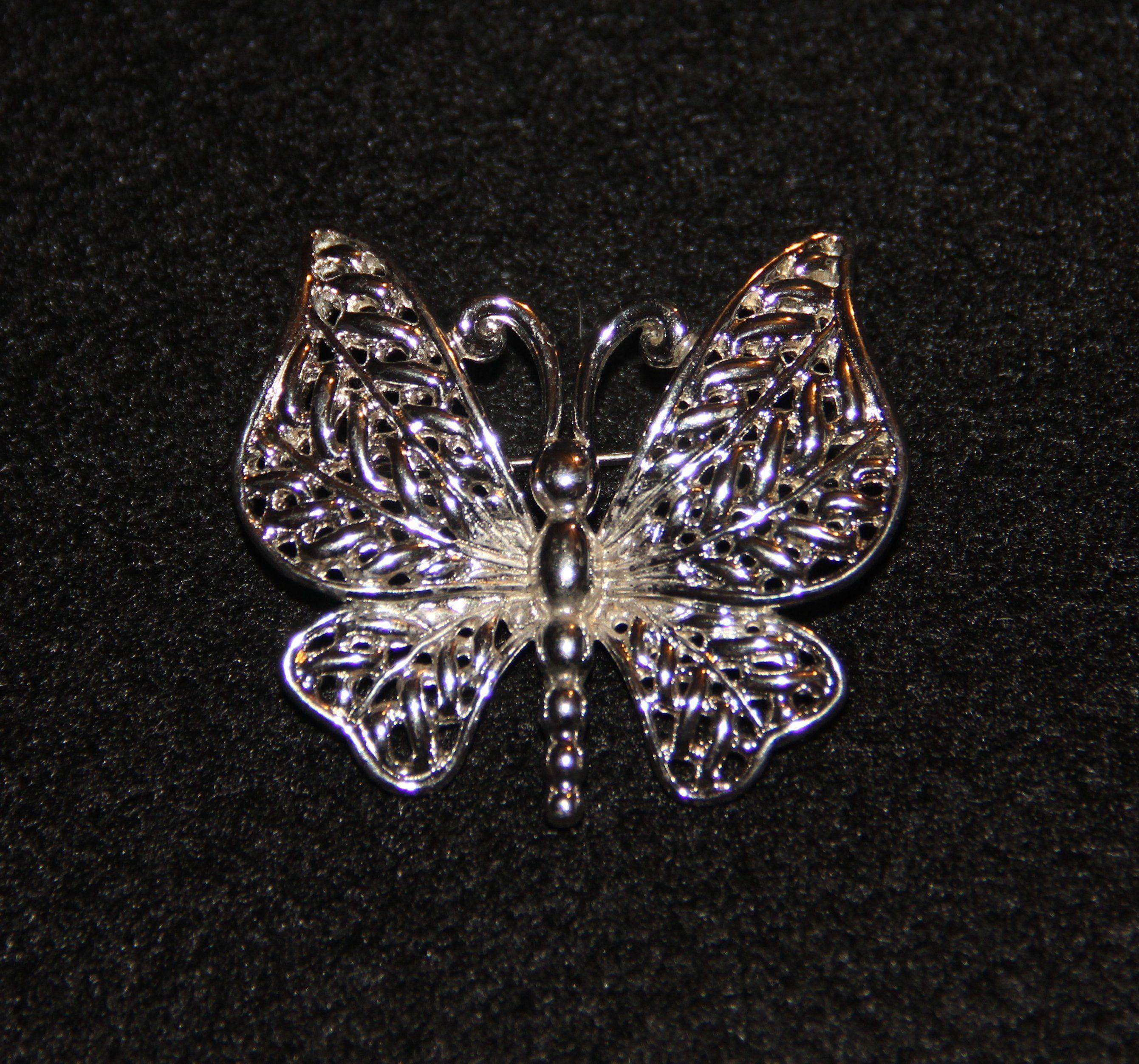 09b7357da0a Anne Klein Butterfly Pin Brooch in Silver Tone Designer Butterfly Brooch Pin  Spring Jewelry Coat Pin Handbag Decor Hat Pin Scarf Pin
