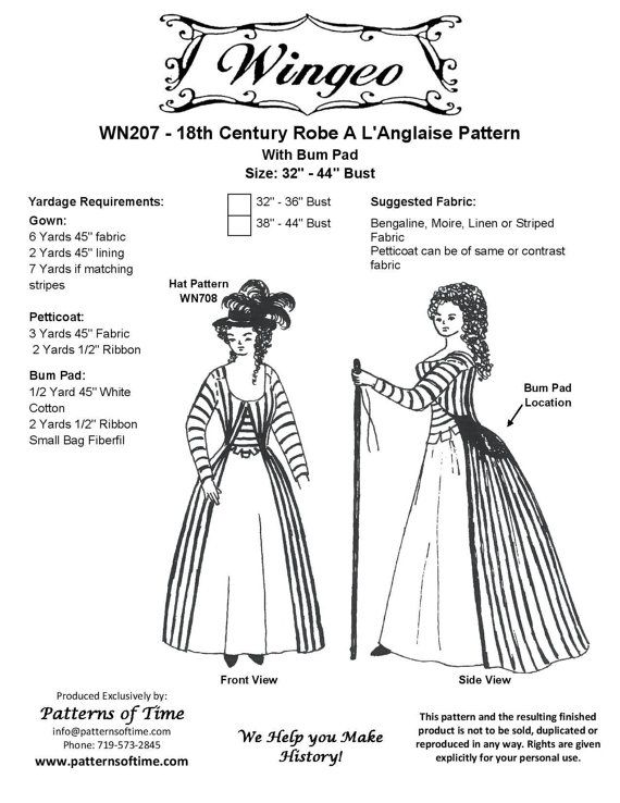 WN207    Late 18th Century Robe a L'anglaise by patternsoftime