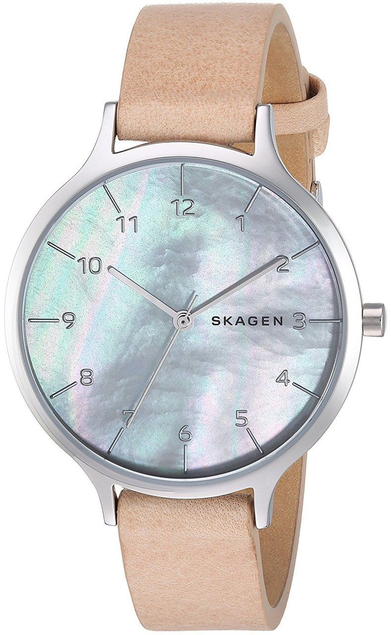 162a95c5d SKW2634 Shop New Skagen Anita Mother of Pearl Dial Blush Leather Strap Watch  for less on sale @ WatchWarehouse.com Free Shipping 30 Day Money Back