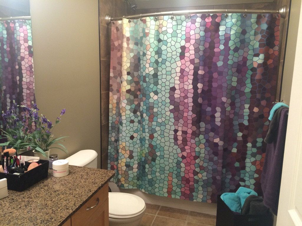 Octopus shower curtain cafe press - Beautiful Shower Curtain Morning Has Broken Mosaic Unique Fabric Teal Purple