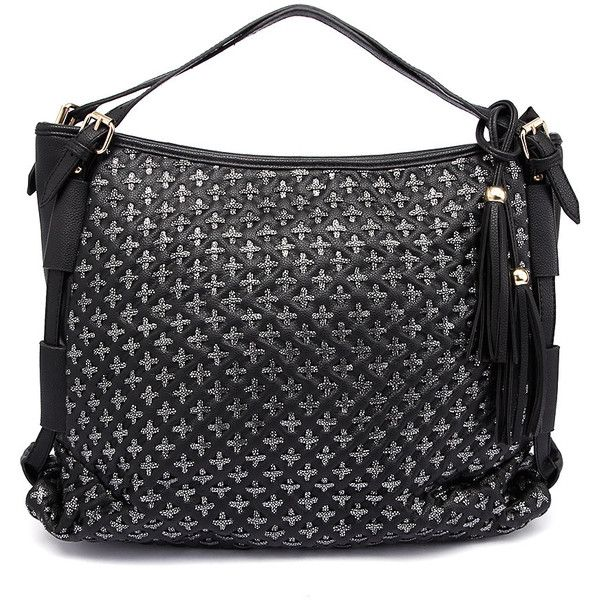 I Love Billy 201477 Black Metallic Tote ($33) ❤ liked on Polyvore featuring bags, handbags, tote bags, woven tote, faux-leather handbags, tote purses, tote bag purse and metallic tote handbags