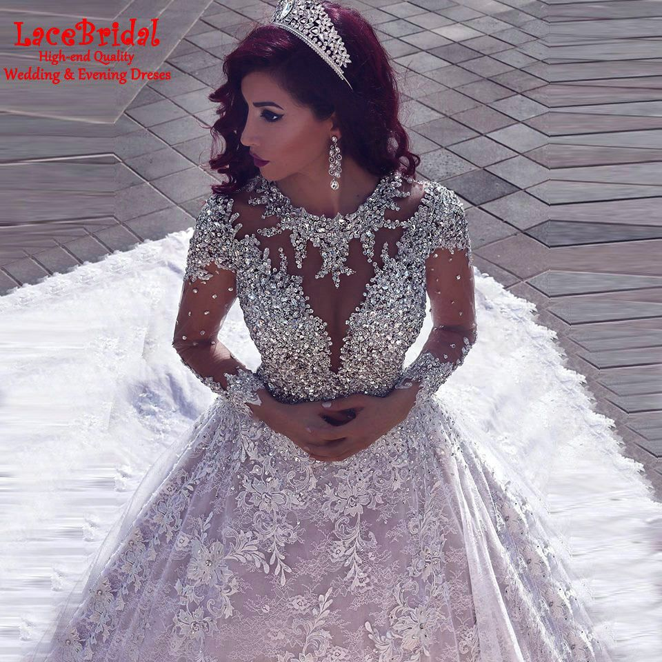 Find More Wedding Dresses Information about Luxury Ball Gown Beaded Lace Long…