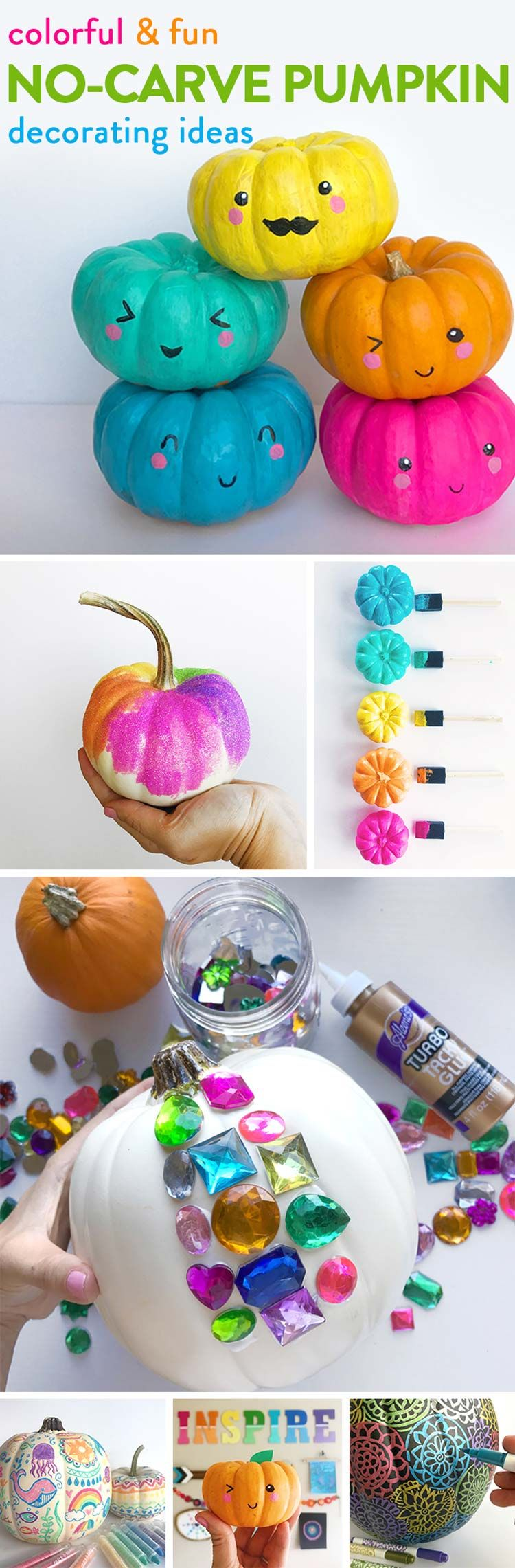 Pumpkins make a wonderful canvas for bright and beautiful designs. When designing your pumpkins let your imagination run wild. Try everything!