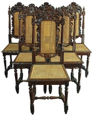 Set/6 antique french dining chairs, 1880, oak, caning, gryphon/shield  carvings