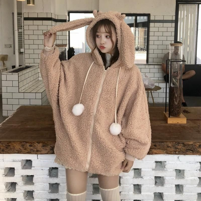 Kawaii Bunny Ears Hoodie Coat - Plush Hooded with Rabbit Ears