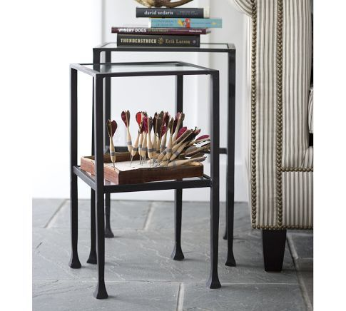 Beautiful I like that the tables nest Not big enough for a lamp so would need Top Design - small side table with shelf Contemporary