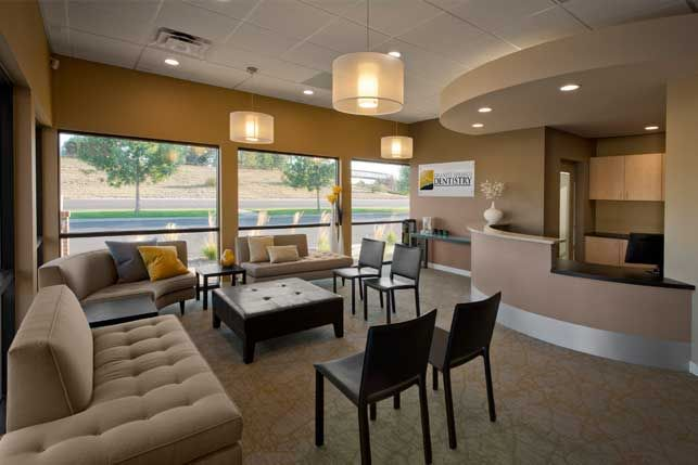Example reception check in out soft seating waiting for Medical office interior design