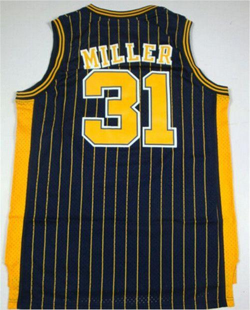 cheap  31 Reggie Miller jersey stitched Indiana retro throwback basketball  jerseys Black White Yellow top quality Size S-XXXL-003 b4ecb79b1