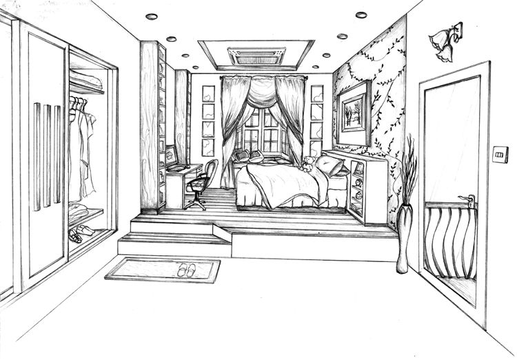 1 Point Perspective Bedroom Drawing | Design Ideas 2017 2018 | Pinterest |  Perspective, Bedrooms And Drawings