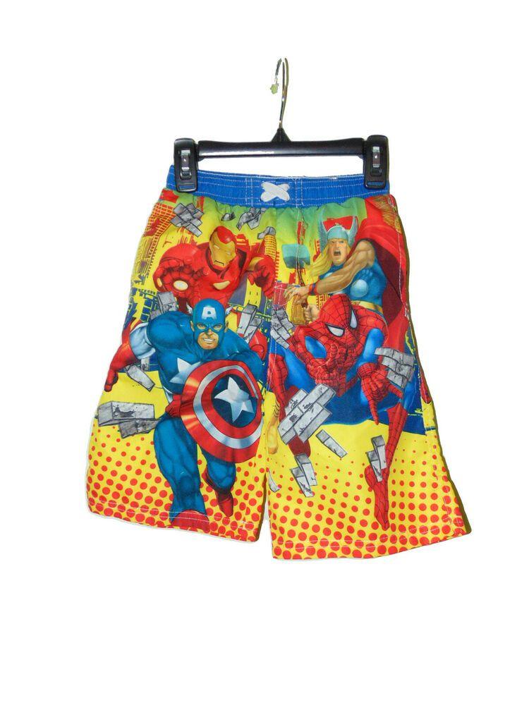 Marvel Comics Avengers Graphic Swim Trunk Shorts X-Small Black