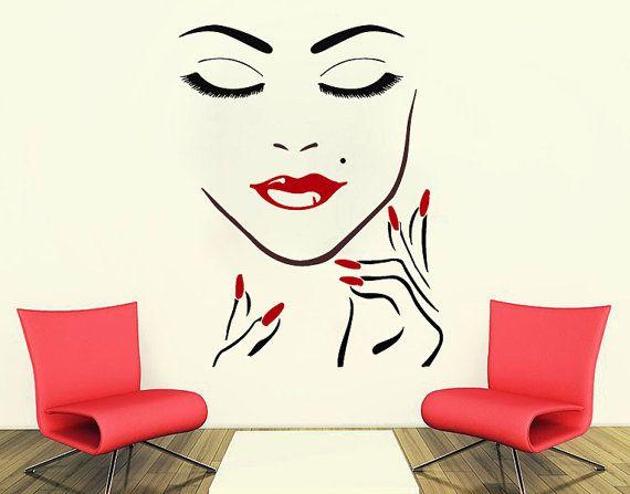 Wall Decals Beauty Salon Girl Face Hand Manicure Nail Lips Long Lashes Closeup Makeup Decoracion De Salon De Belleza Interior De Peluquería Decorado De Salones