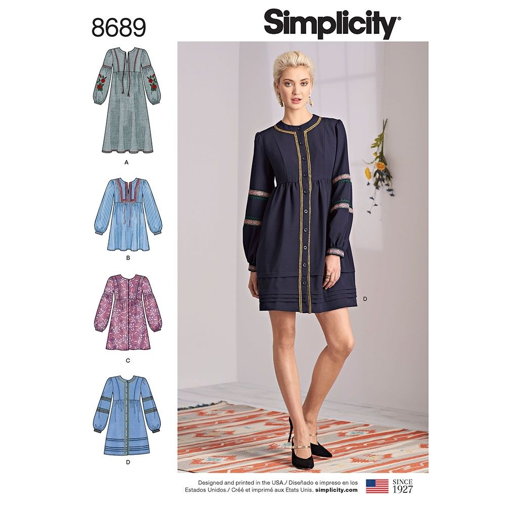 Simplicity Sewing Pattern 8690 Women/'s Shift Dress with Sleeve Options