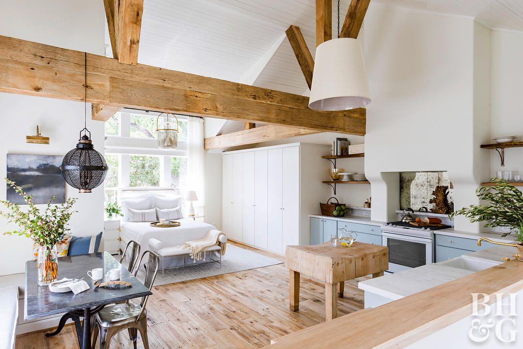 See How This Overlooked Garage Attic Transformed Into A Dreamy Guest Loft Garage Apartment Interior Apartment Renovation Garage Attic