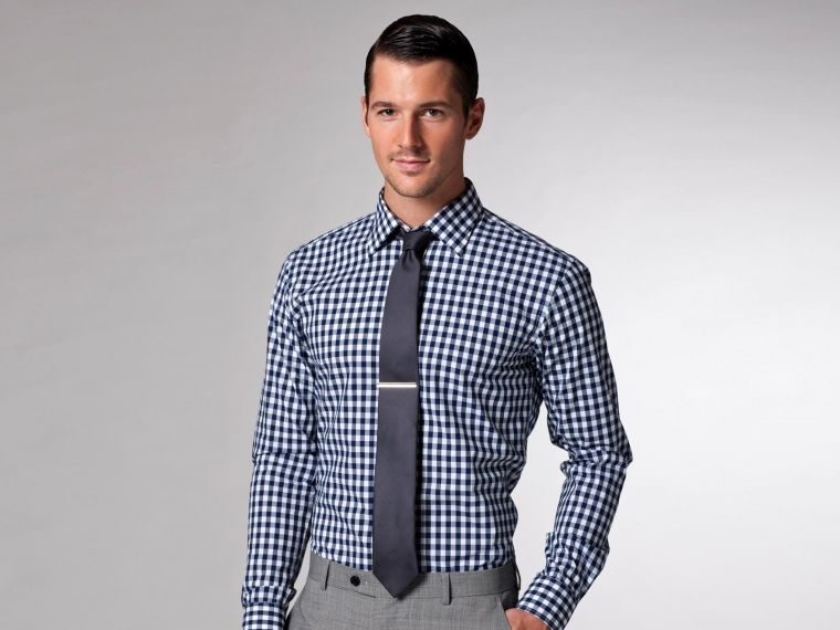 Gray Tie And Gingham Shirt Shirt Tie Pinterest