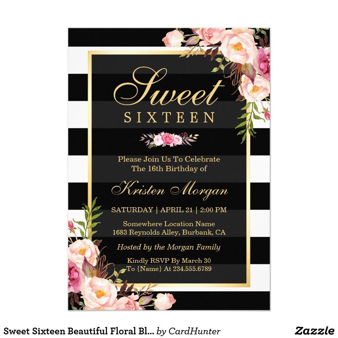 Sweet Sixteen Beautiful Floral Black White Stripes Card Sweet 16