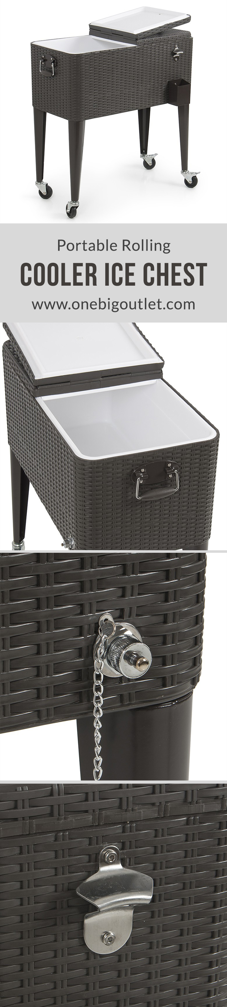 portable rolling cooler ice chest cool soda beverage party rattan