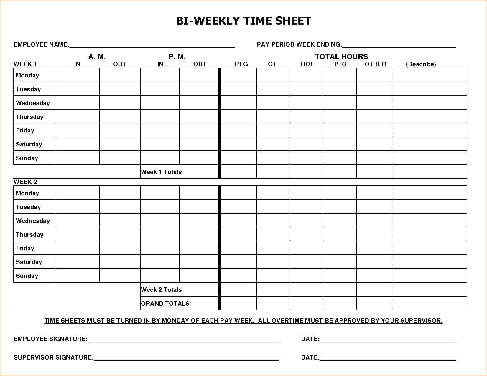 Unique Simple Time Card Timesheet Template Time Sheet Printable
