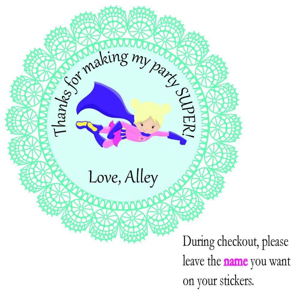Fying Hero Girl2 Super Hero Personalized Party Favor Stickers Round Birthday Tag #PersonalizedStickersFavorTreatBagPartyFavors #BirthdayChild