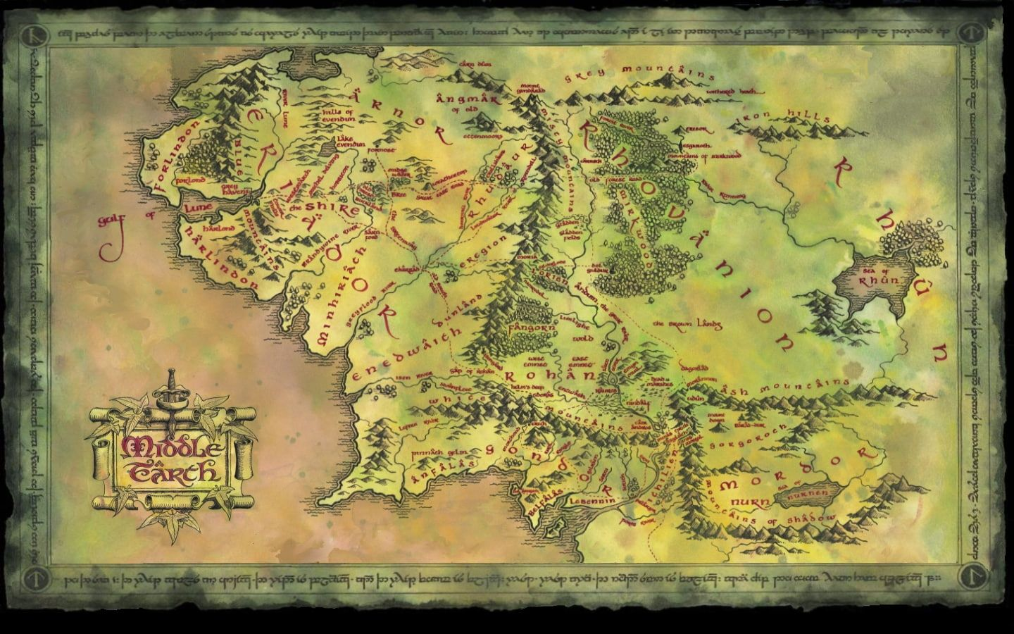 The Lord Of The Rings Middle Earth Map Hd Middle Earth Map