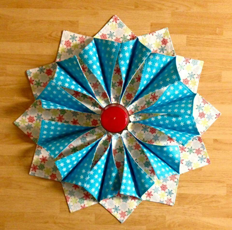 Folded fabric wreath
