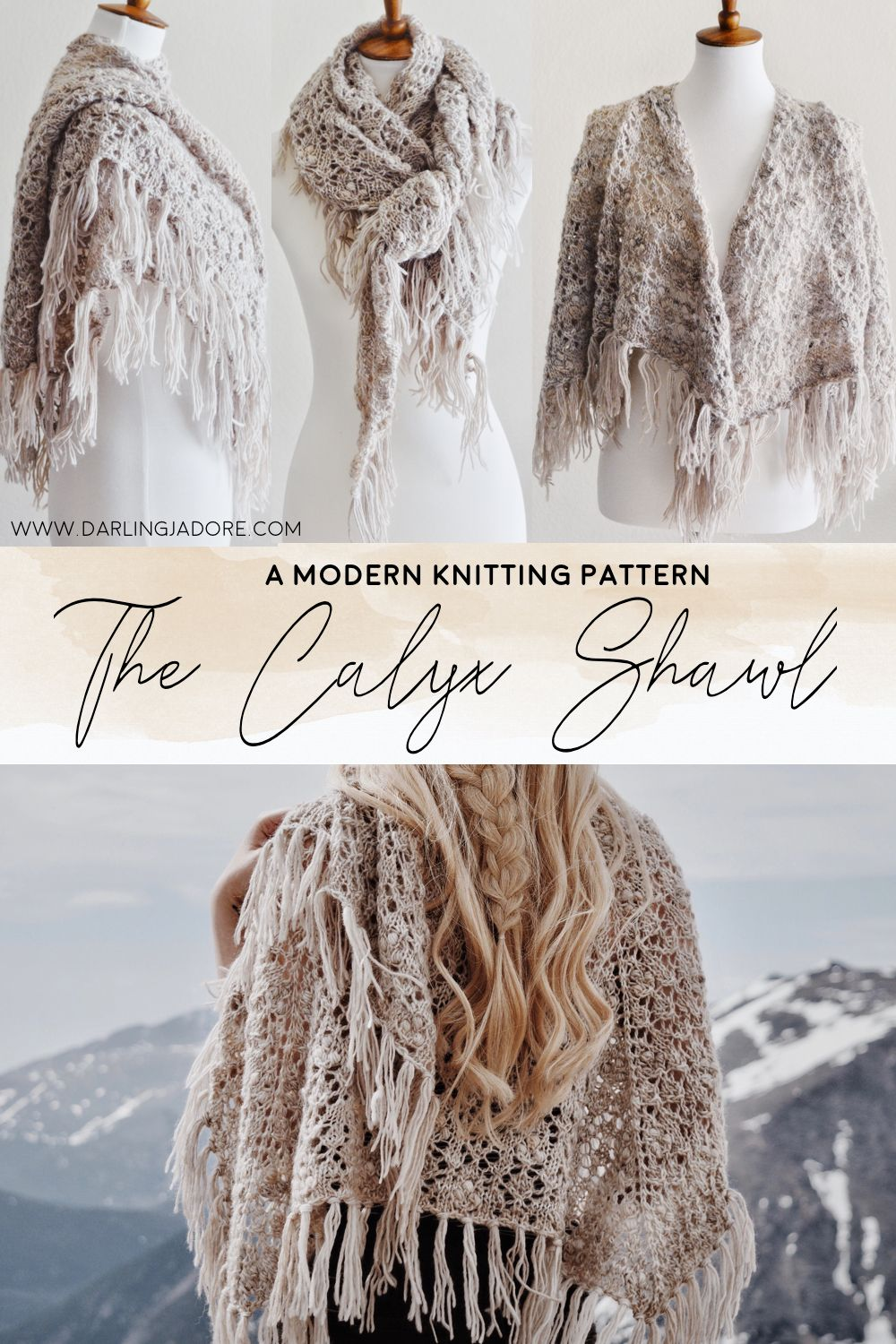 Lace Shawl With Tassels Knitting Pattern by Darling Jadore | THE CALYX SHAWL