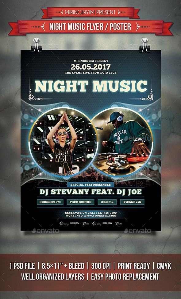 Night Music Flyer  Poster  Music Flyer Flyer Template And Font Logo