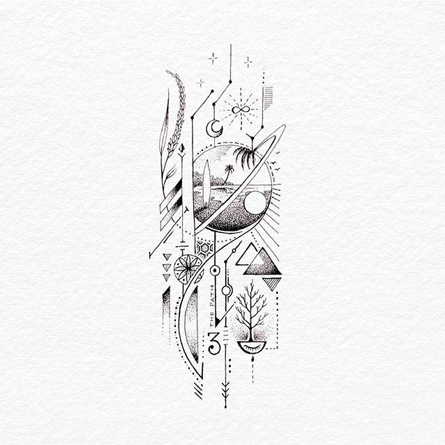 Visualarts Graphics Image Tattoo Sketch Black And White Line Art Illustration Photo By Bacht Geometric Tattoo Design Sleeve Tattoos Ink Illustrations