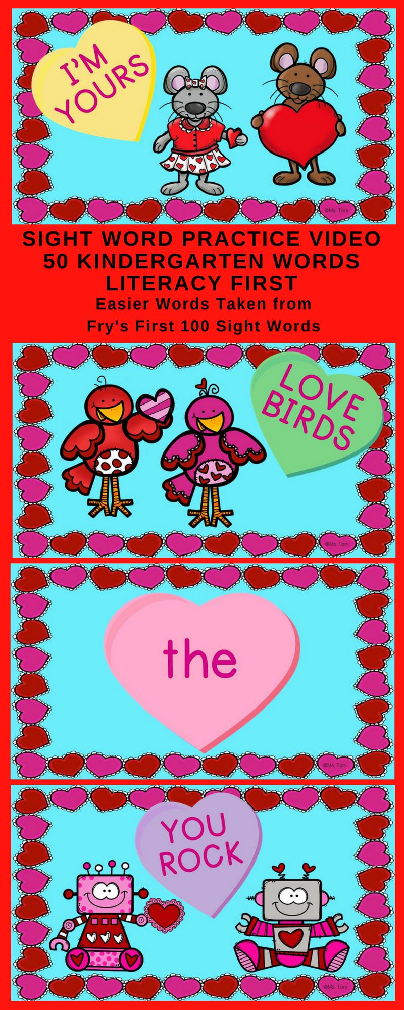 Sight Word Video & Slideshow Kindergarten 50 Words Literacy First