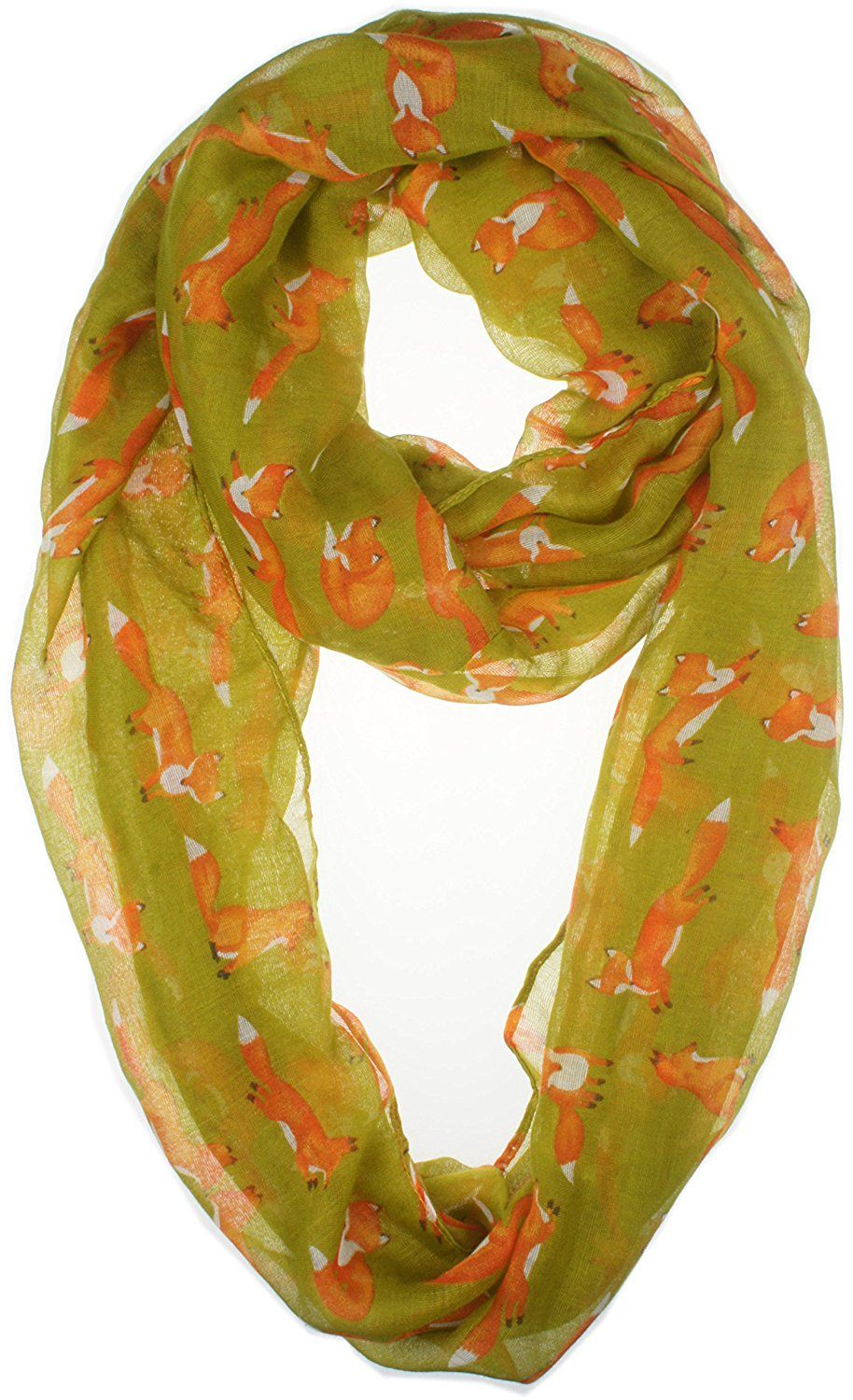 Vivian & Vincent Soft Light Cartoon Fox Sheer Infinity Scarf Olive: Amazon.ca: Luggage & Bags