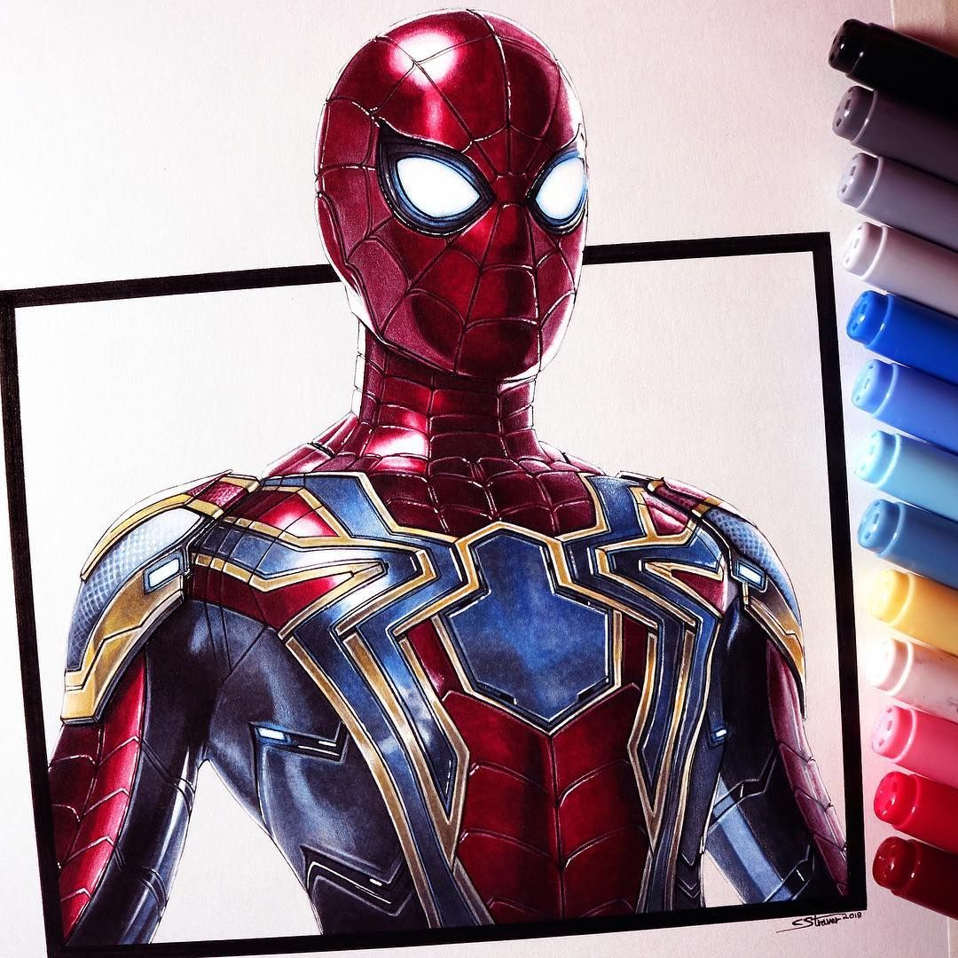 Here S My Drawing Of Spider Man In The Iron Spider Suit From Avenger Spiderman Dibujo Dibujos Realistas Dibujos Marvel