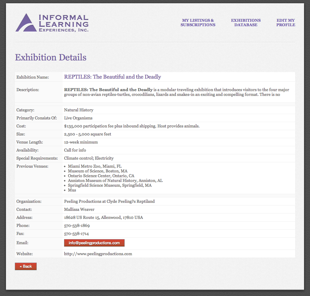 Informal Learning Experiences Inc An Online Database Of