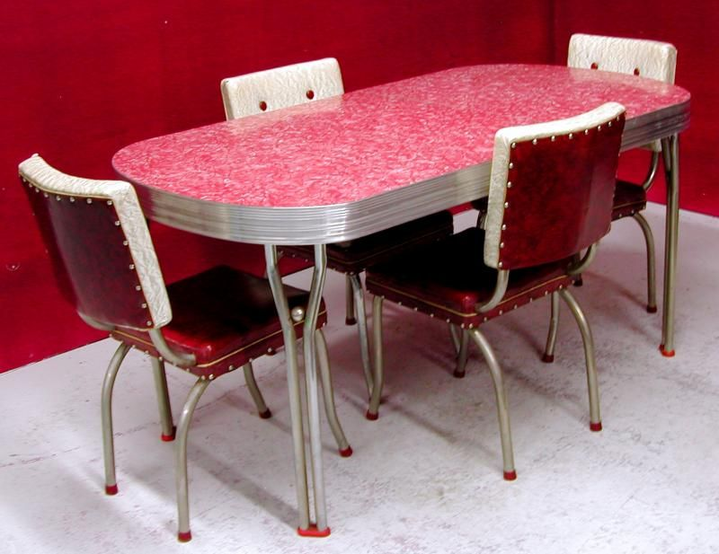 Great Retro Kitchen Table And Chairs Dinette Set Diner Furniture .