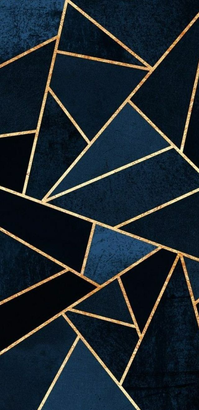 Luxe Dark Blue And Gold Geometric IPhone Wallpaper Background