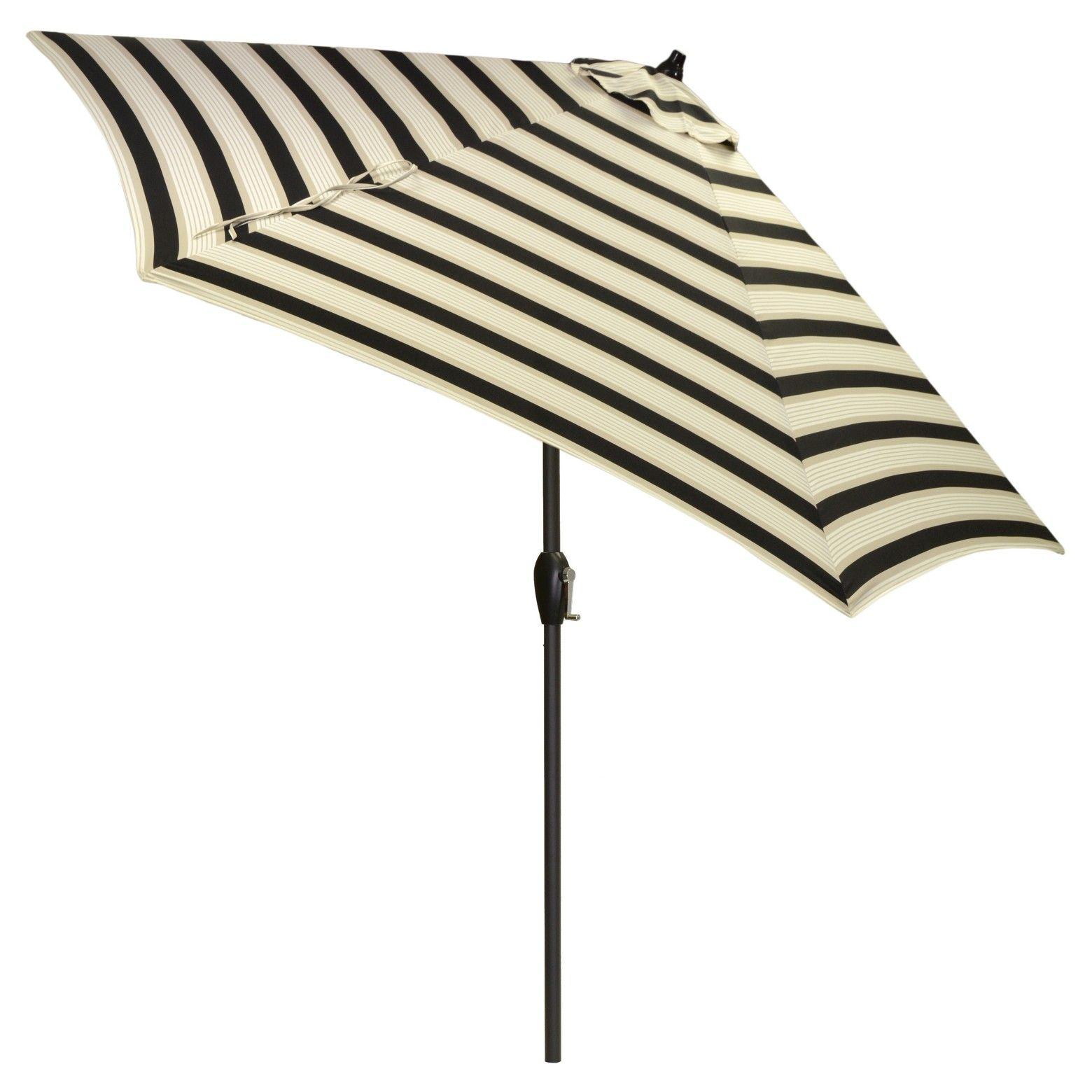 Tar patio umbrella in black and beige stripes