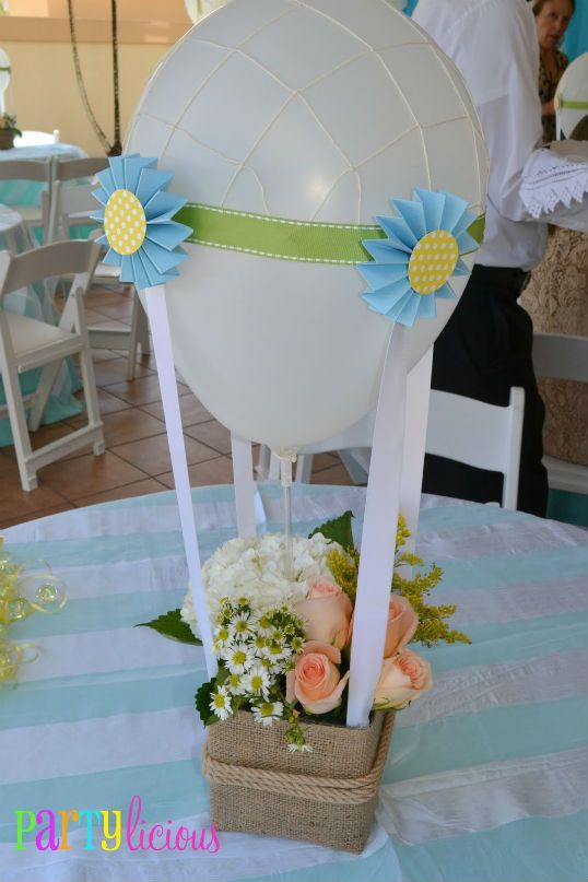 Baby shower center pieces with burlap baloon parties for Balloon art for baby shower