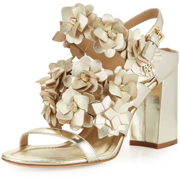 Tory Burch Blossom Leather 65mm Sandal (465 AUD) ❤ liked on Polyvore featuring shoes, sandals, gold, strap sandals, floral sandals, strappy leather sandals, open toe sandals and strappy sandals
