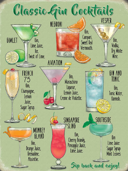 Cocktail Sign - Classic Gin Cocktails - Metal Wall Sign (3 sizes)