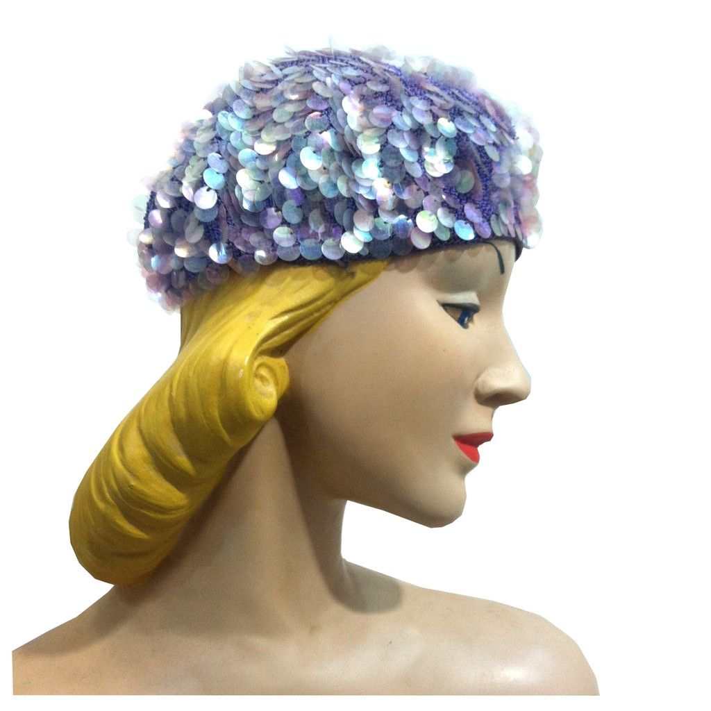 59e4b23fe15 Iridescent Lavender Sequined Knit Hat circa 1960s