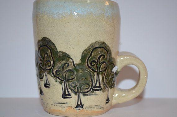 Vintage Beautiful Stoneware Large Coffee Mug by TheThriftyLab, $9.99
