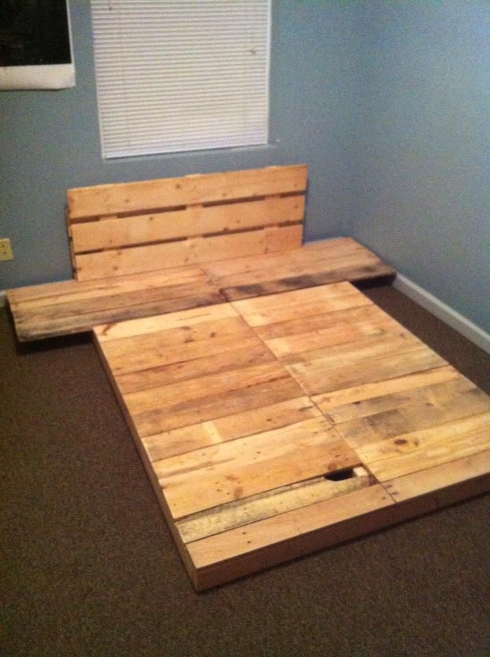 Reclaimed Shipping Skids turned into Futon Bed Platform for our Son ...