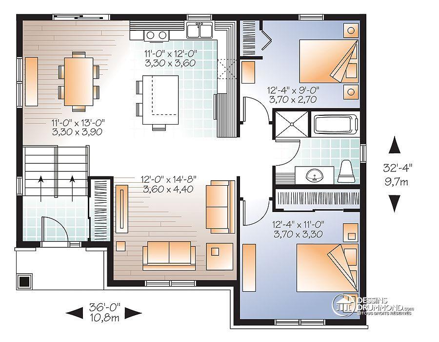 Détail du plan de Maison unifamiliale W3323-V1 Architecture