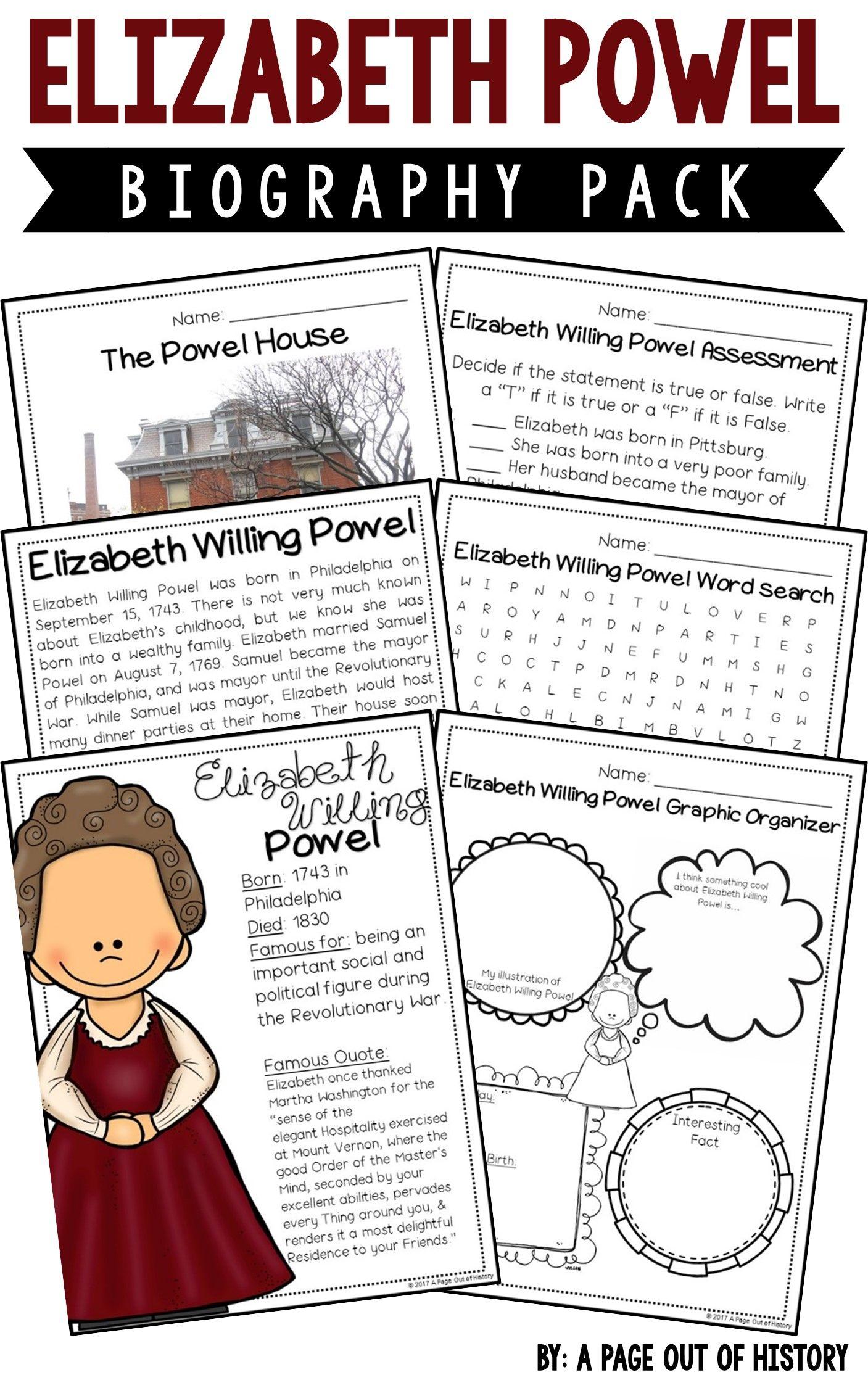 Elizabeth Powel Biography Pack Revolutionary Americans