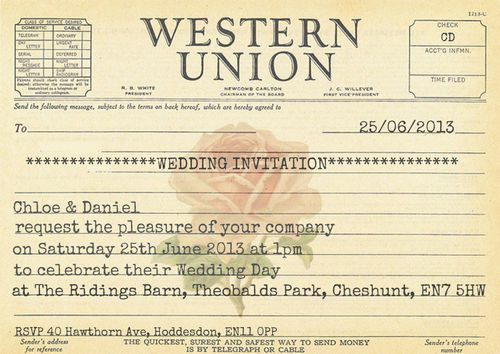 PERSONALISED SHABBY CHIC VINTAGE WESTERN UNION TELEGRAM WEDDING INVITATIONS
