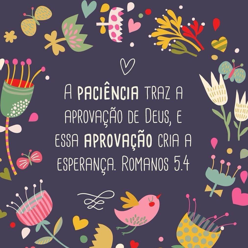 """➡️""""a paciência traz a aprovação de Deus, e essa aprovação cria a esperança."""" Romanos 5:4 NTLH ✨✨✨✨✨✨ #amem #salmos #deus #jesus #salvador #salvação #senhordaminhavida #senhor #vida..."""