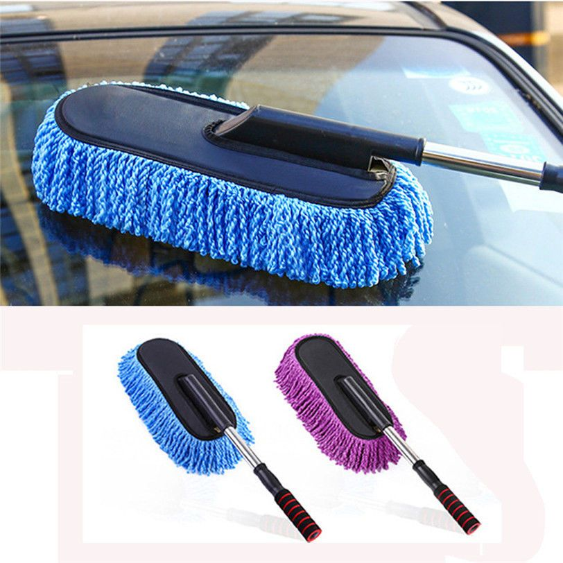 Car Cleaning Brush Duster Dust Wax Mop Microfiber Telescoping