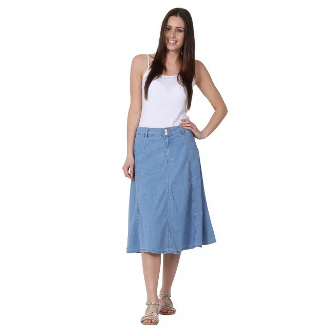 Mid-length Denim Skirt (Mary). #denimskirts | Girls in jeans ...